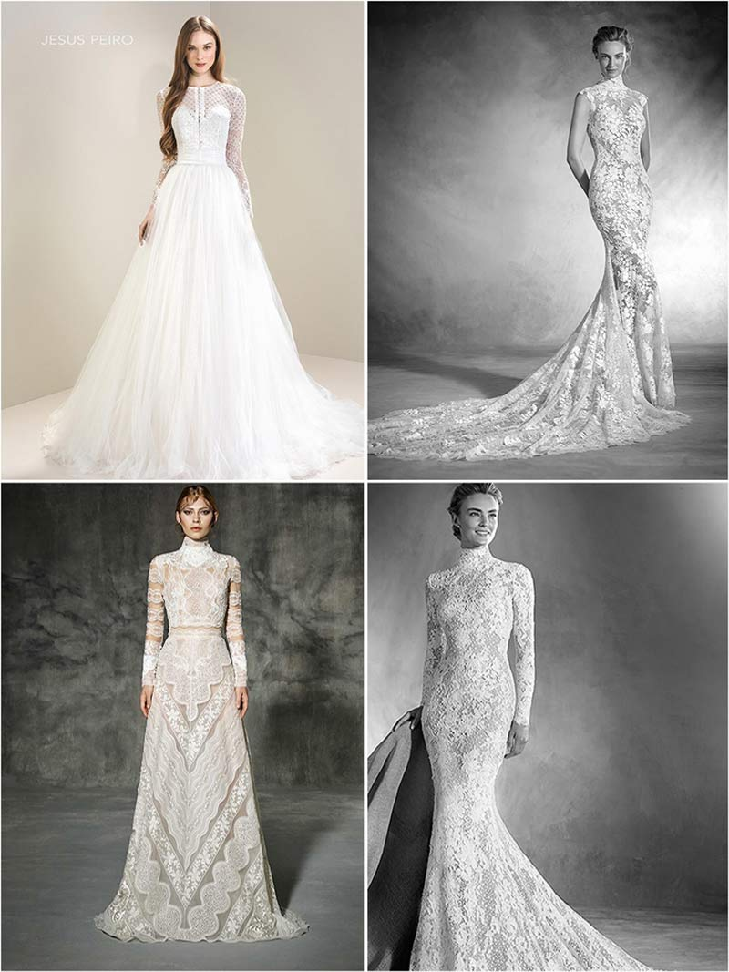 "Clockwise from top left: ""7069"" by Jesus Peiro; ""Nikol"" by Atelier Pronovias; ""Elvira"" by Atelier Pronovias; ""Castelao"" by Yolan Cris"