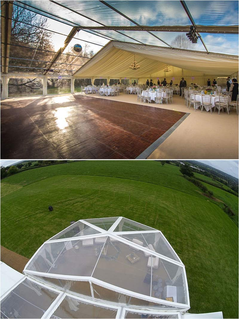 Top: Part clear and part lined marquee Bottom: Clearspan Frame marquee Both by Abbas Marquees, Somerset