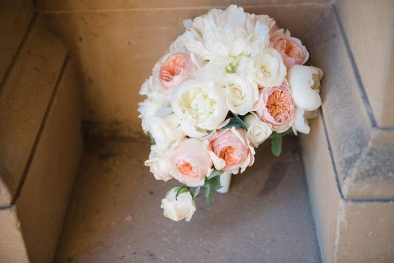 A similar bouquet to Pippa's containing peonies and David Austin roses created by Tarnia Williams. Photo courtesy of Hannah McClune Photography.